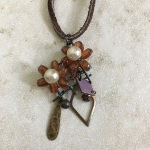 Floral Boho Suede leather and stone Necklace